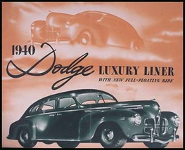 1940 Dodge Deluxe Luxury Liner Brochure - $17.87