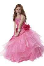 Tiffany Princess Little Girls' Beaded Ruffled Pageant/Flower Gown Dress 4 Pink - $210.69