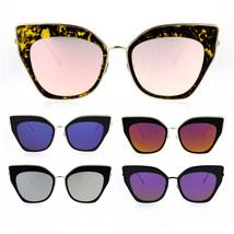 Womens Mirror Double Rim Squared Oversize Cat Eye Retro Sunglasses - $13.95