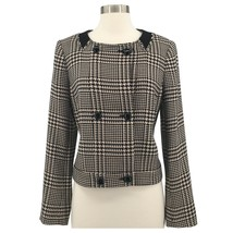 ANNE KLEIN Womens Jacket Black Glen Check Double Breasted Cropped Long S... - $44.99