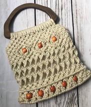 Vintage Macrame Handbag Boho Mod Bag Wooden Handle Beaded 1960s 1970s - $20.99