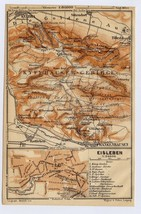 1910 ANTIQUE MAP OF EISLEBEN MARTIN LUTHER TOWN KYFFHAUSER SAXONY-ANHALT... - $11.88