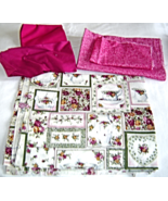 Cotton Fabric Lot Magenta Victorian Dishes Flats and Large Pieces - $12.95
