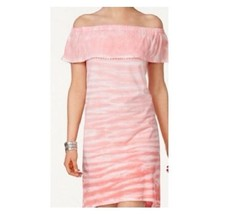 Style & Co Womens Tie Dyed Ruffled Dress Hi Lo Off The Shoulder Pink L F... - $14.84