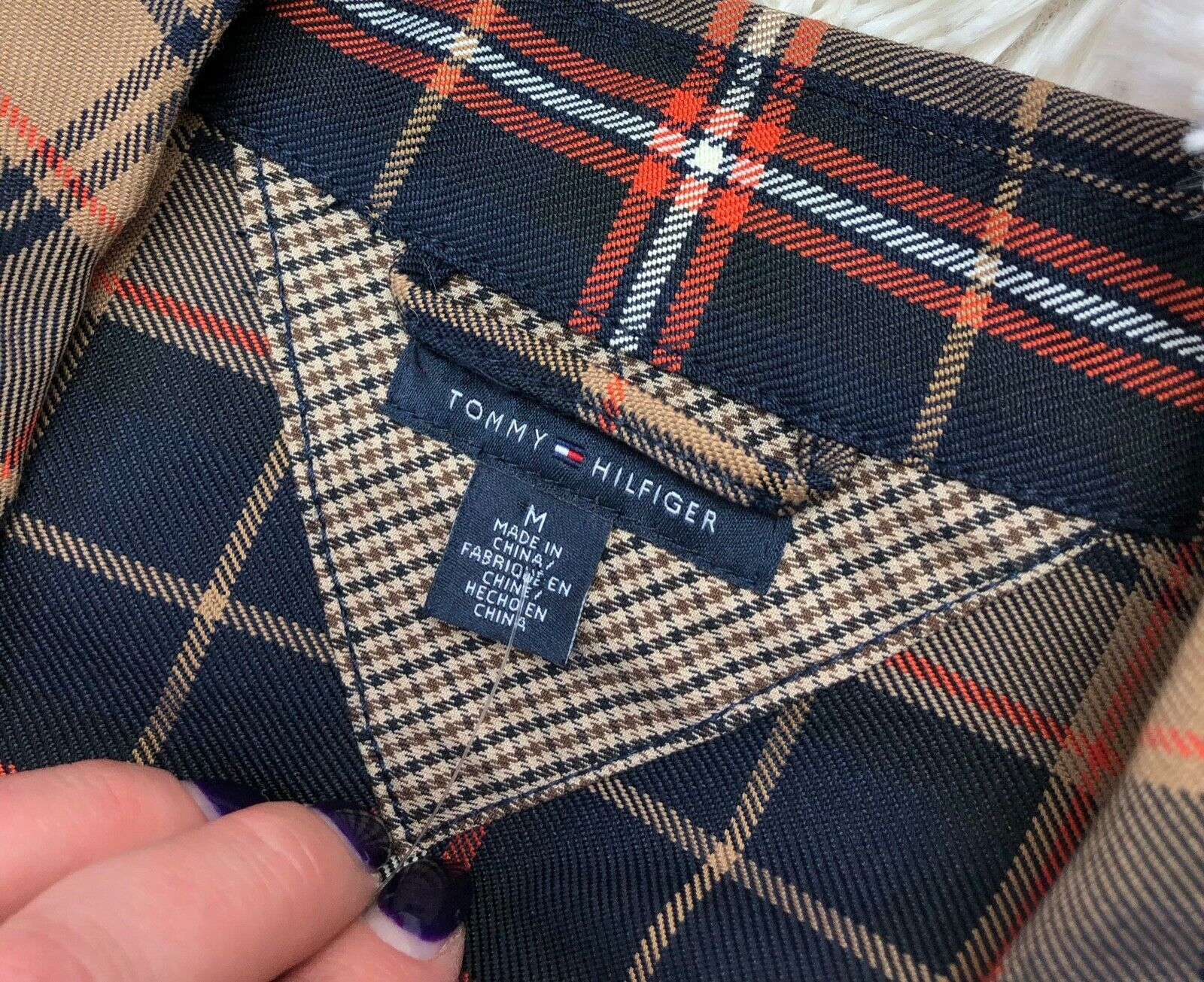 Tommy Hilfiger Jacket Plaid Lightweight Pea Coat Trench Fall Plaid Cotton Size M image 5