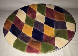 Tabletops Harlequin Multicolored Diamond Design Rimmed Soup/Pasta/Salad Bowl - $14.84