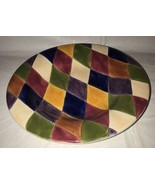 Tabletops Harlequin Multicolored Diamond Design Rimmed Soup/Pasta/Salad ... - $14.99