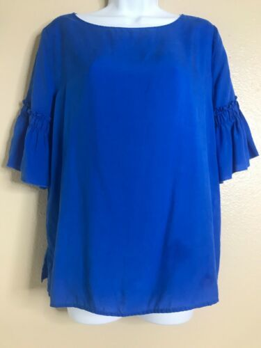 Primary image for Ann Taylor Women's Size Small Blue Bell Ruffle Sleeve Top Boat Neck