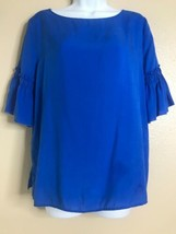 Ann Taylor Women's Size Small Blue Bell Ruffle Sleeve Top Boat Neck - $13.86