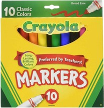 CRAYOLA Broad Line Markers Assorted Classic Colors 10 Markers - $7.91