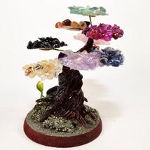 "4"" Multicolor Stone Tree w/ Pyrite on Wood Base Decorative Crystal Figur... - $25.95"