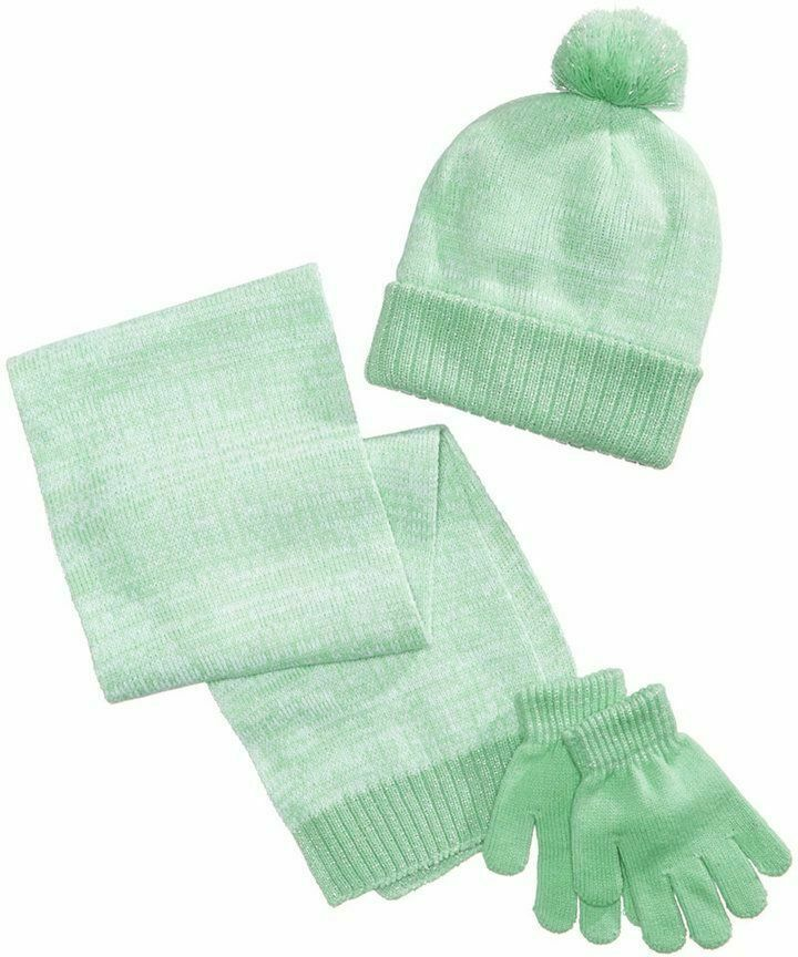 Primary image for Designer MACY'S Berkshire Girls' 3-Pc Knitted Hat Scarf Gloves Set Green