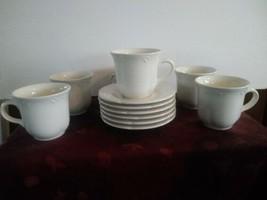 Set Of 6 Pfaltzgraff Filigree Mugs and Saucers - $56.09