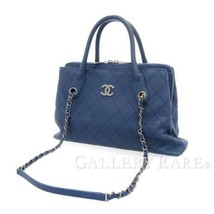 CHANEL Chain Shoulder Bag Soft Caviar Leather Blue CC Logo 2Way Italy Authentic - $2,288.35