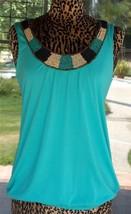 "Beaded Neckline Sleeveless Peeka Boo Back Sleeveless Shirt Sz. XL  42"" Bust - $13.85"