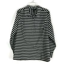 Lane Bryant Womens Shirt Size 22/24 Button Long Sleeve Black Stripe Stretch Top - $27.02