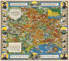 1934 Pictorial Street Map Melbourne Victoria Australia Poster Vintage Hi... - $12.38+