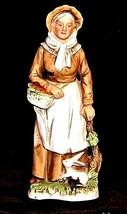 Woman Figurine Holding a basket Homco 1409 AA18 - 1118 Vintage - $39.95