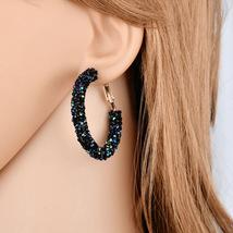 BAHYHAQ - Luxurious Crystal Round Punk Rhinestone Hoop Earring Statement Jewelry - $2.90