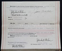 1939 antique DEED INDENTURE YEAGER WEST NORRITON upper province montgome... - $48.95