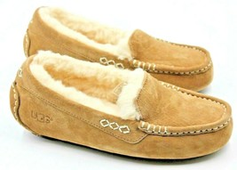 UGG Ansley Womens Suede Moccasin Chestnut Slippers Size 5 Authentic - $74.79