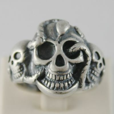 925 Silver Ring Burnished Shaped Skull with Snake Size Adjustable
