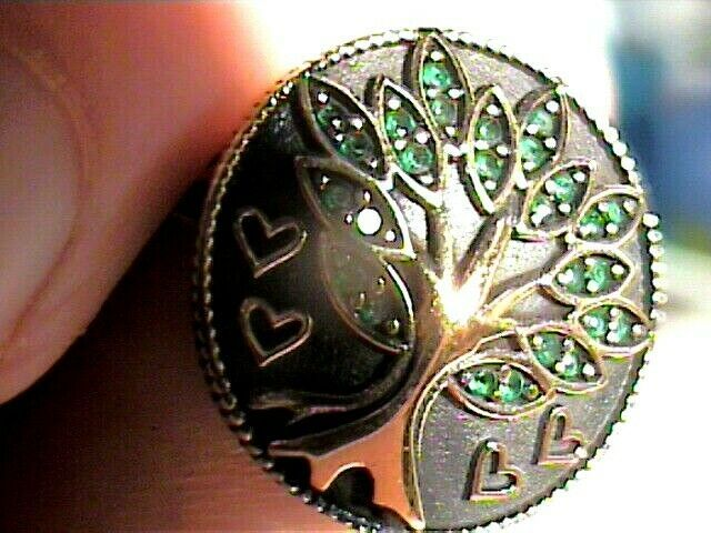 Tree of life RING 7 ELEGANT green topaz STERLING SILVER 925 gold accent bold WOW