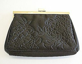 *VINTAGE EVENING BAG SMALL CLUTCH OR PURSE BLACK SATIN WITH FLOWER QUILT... - $8.45