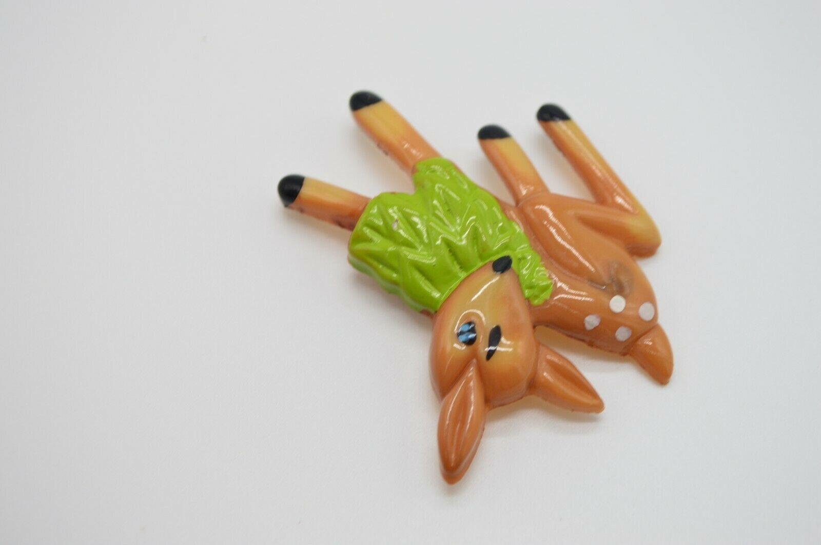 Vintage Plastic Eating Deer Brown Green Pin Brooch image 3