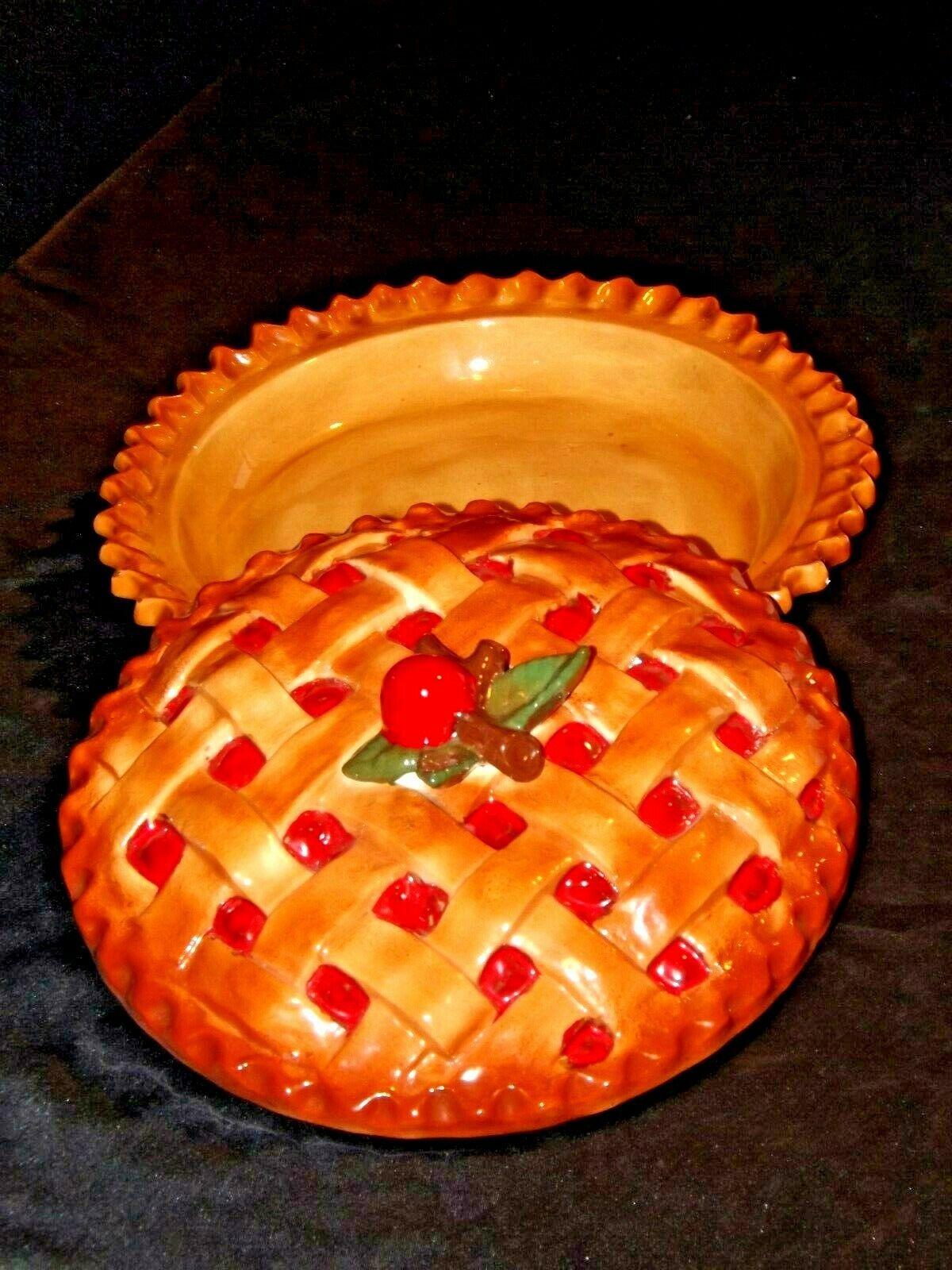 Stoneware Cherry Pie Keep Baking Dish with Decorative Lid AA19-1457