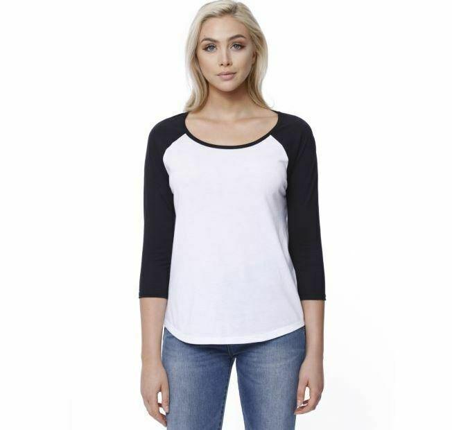 Embroidered ST1475 StarTee Ladies' CVC Long-Sleeve Raglan white/black Sz S