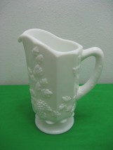Vintage Westmoreland Paneled Grape White Footed Milk Glass Water Juice P... - $13.98