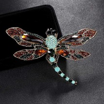 big size Blue opal Rhinestone Dragonfly Brooch Pins Men Luxury Brand Chr... - $21.65