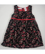 Floral Dressy Jumper Dress Black Velvet Red Satin Lining WonderKids Girl... - $3.99