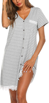 Ekouaer Women'S Nightgown Striped Tee Short Sleeve Sleep Nightshirt Brea... - $23.75+