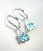 18kt White Gold Plated Blue Topaz Baguette Crystal Petite LeverBack Earrings - £22.79 GBP