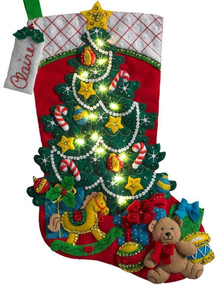 Primary image for Bucilla Christmas Tree Surprise Bear Toys Gifts Lighted Felt Stocking Kit 86710I