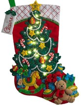 Bucilla Christmas Tree Surprise Bear Toys Gifts Lighted Felt Stocking Ki... - $43.95