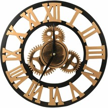 "Gears 14"" Large Gold & Black Round Wall Clock, 3-D Roman Numerals, Quart... - $21.67"