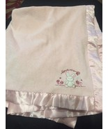 Carters LOVE ME Pink Bunny Baby Blanket Flowers Satin Back Edge Lovey 30... - $23.33