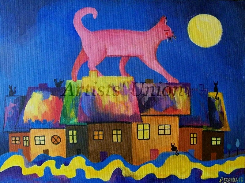 Primary image for Pink Cat Original Oil Painting Abstract Fantasy Cityscape Magic City Nursery Art