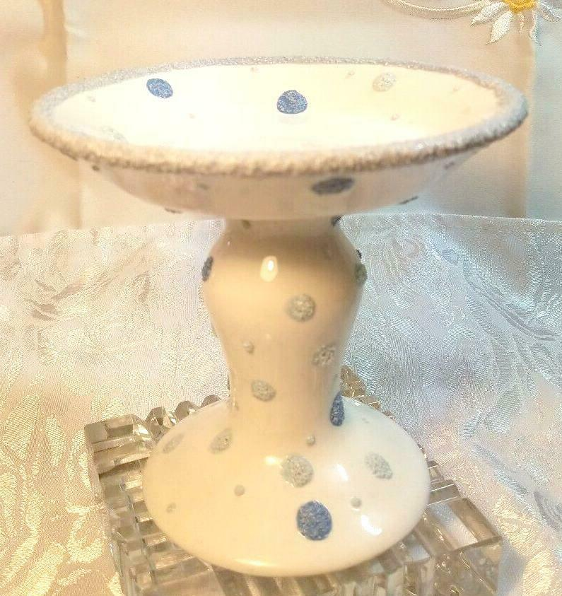 """THE WHITE BARN CANDLE Co. 5"""" WHITE CANDLE HOLDER WITH BLUE DOTS 5""""x5.5"""""""