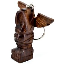 Hand Carved Ironwood Wood Folk Art 3D Eagle Totem Pole Keychain image 3