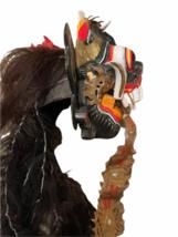 "Vintage Asian Tribal Mask Hand Carved Wood Wall Art East Java Indonesia 41x11"" image 3"
