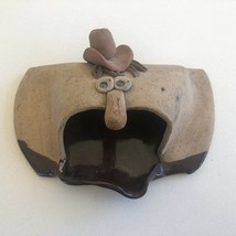 Handmade Pottery Cowboy w/ Twee hat - Paperclip / Business Card Holder - $74.99