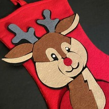 "Rudolph Felt Christmas Stocking Reindeer Red Brown Gray Yellow 13"" Tall ... - $16.70"