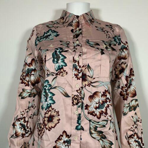 Lauren Ralph Lauren Top Blouse Floral Pink Cotton Button up Shirt Sz M NEW NWT image 2