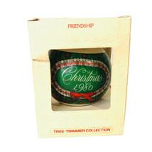 1980 Hallmark Glass Christmas Ornament FRIENDSHIP VTG In Box Trimmer Col... - $8.86
