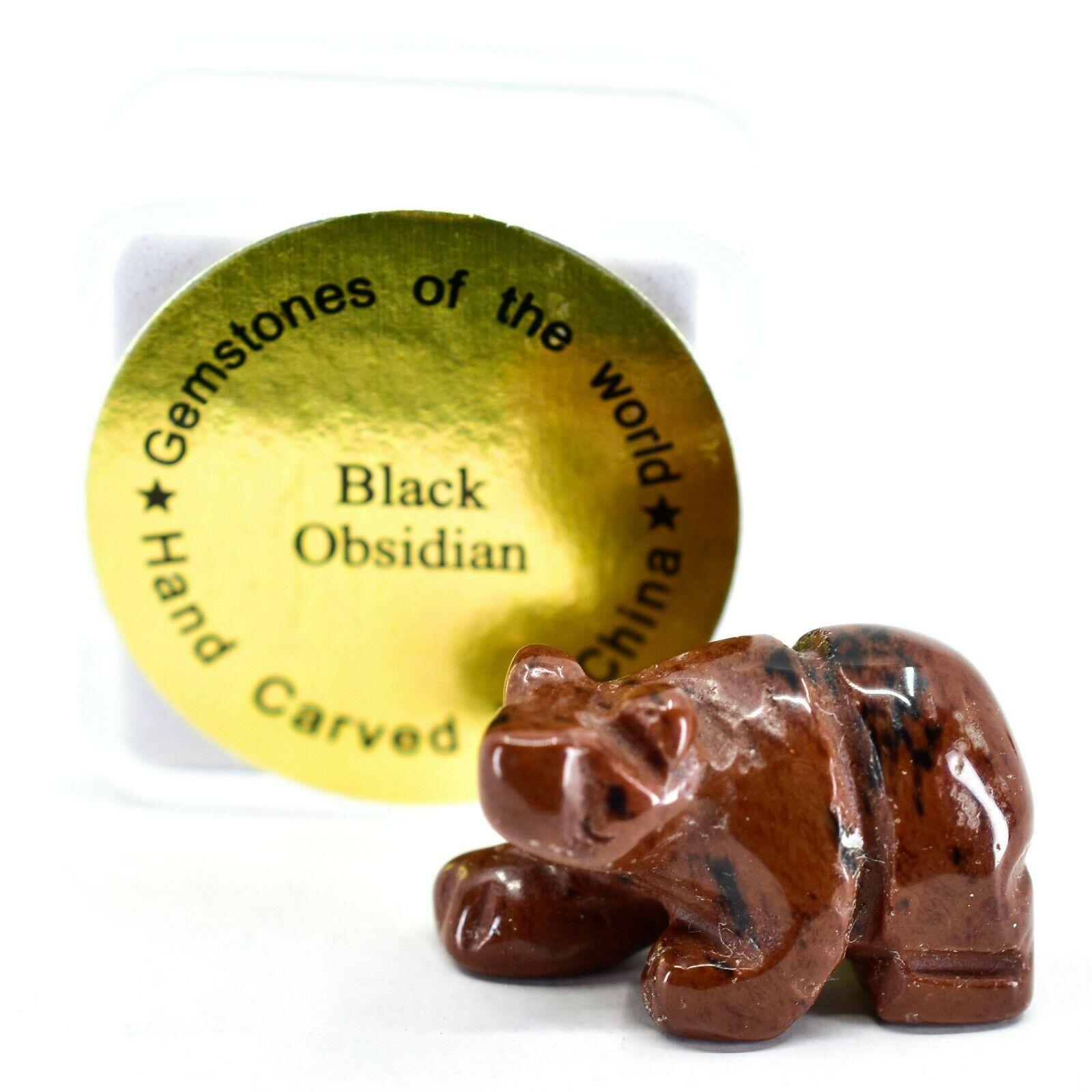 Red Black Obsidian Gemstone Tiny Miniature Bear Figurine Hand Carved China