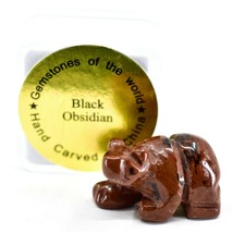 Red Black Obsidian Gemstone Tiny Miniature Bear Figurine Hand Carved China image 1